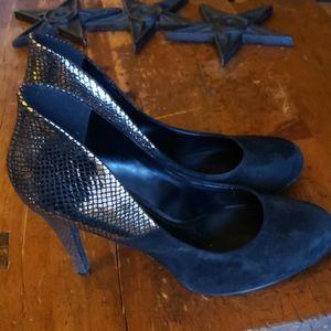 Aldo Shoes - Aldo, Black suede, metallic heel size US10 UK41
